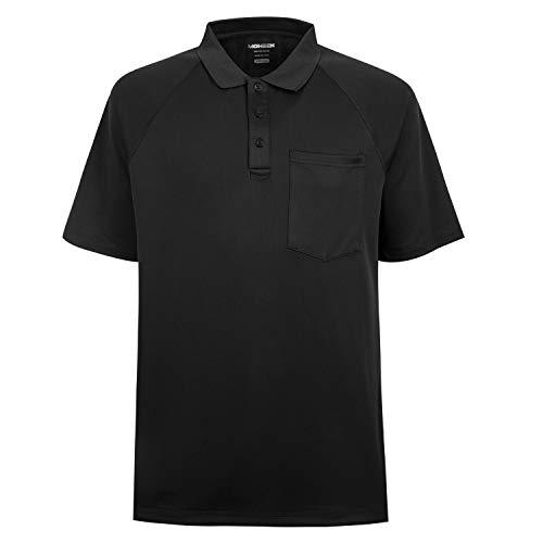 MOHEEN Herren Poloshirt/Funktionsshirt Mit Brusttasche in Übergrößen L bis 6XL - für Sport Freizeit und Arbeit (L,Schwarz)