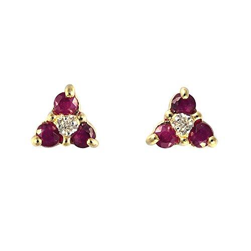 Ivy Gems Ohrstecker Blumendesign Gelbgold 9Karat (375) Rubin Diamant (Rubin-diamant-ohrringe)