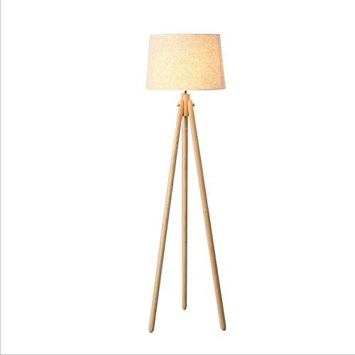 TQ Minimalistisches Nordic Holz Schlafzimmer Wohnzimmer DREI Meter Fußboden Lampe Studie Massivholz Stoff LED-Bodenlampe -