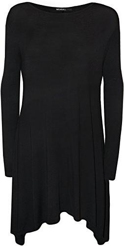 �e Damen Plain Stretch Langarm-Kleid-Damen Swing-Top - Schwarz - 52-54 (Billig Plus Size)