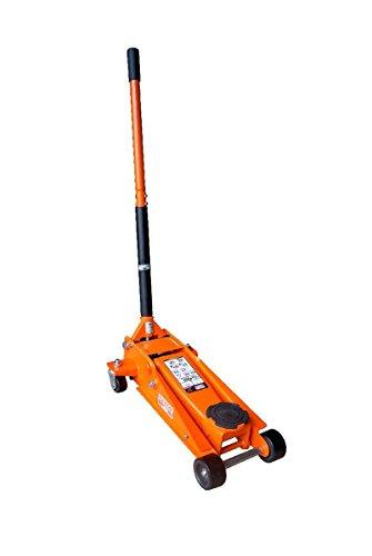 Gato 3Tn|Doble pistón que permite llegar a la altura máxima con 7 golpeos|Ruedas de nylon|planaato de goma|Bandeja porta tuercas|Válvula de presión de seguridad|Válvula de seguridad de descenso|Safety lowering valve