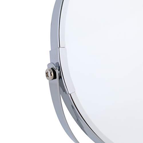 axentia 3-fach Vergrößerungs-Standspiegel in Silber, rostfreier Badezimmerspiegel verchromt, runder Kosmetikspiegel im Durchschnitt ca. 17 cm - 6