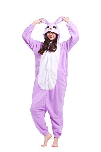 Imagen de magicmode unisex cosplay disfraces de animales kigurumi pijamas adultos enterizo anime sudadera con capucha ropa de dormir de color púrpura conejo s