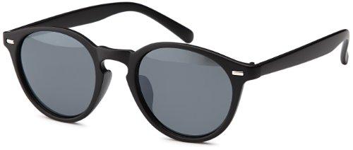 Vintage Sonnenbrille in trendiger runder Form (schwarz-matt)