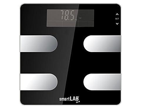 smartLAB fit W Bluetooth Körperanalyse-Waage digital | Körperfett-Waage zum Messen von Gewicht, Kalorien, Wasser, Muskel-Masse, Knochen | Körperwaage für Android, Apple IOS, iPhone, App