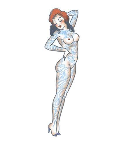 Kostüm Haar Up Pin Girl - Horror-Shop Pin Up Klebetattoo Naked Girl für Fasching & Halloween