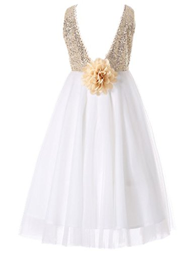 HAPPY ROSE Sequins Cute Round Neck Flower Girl's Dress