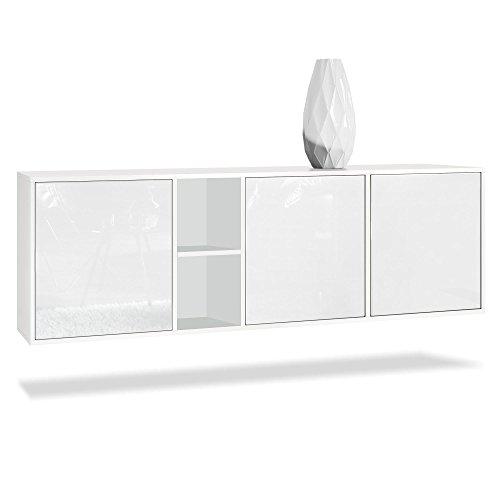 Vladon Sideboard Kommode Cuba, Korpus in Weiß Matt/Fronten in Weiß Hochglanz - Schrank-akzent-schlafzimmer-möbel