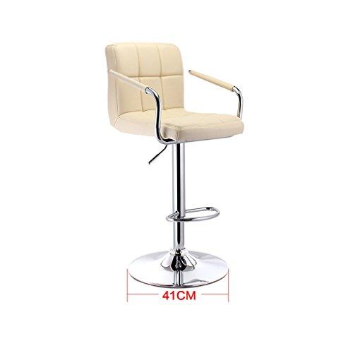 Guo shop- Continental PU Coussin bicolore peut être élevé et abaissé Rotating Bar Creative chaise haute européenne Retro Bar tabouret couleur Bonne chaise (Couleur : Blanc)