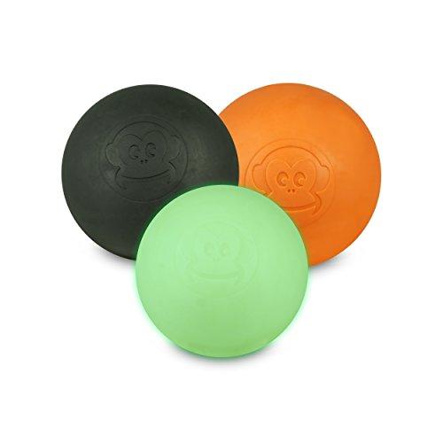 Preisvergleich Produktbild Captain LAX Massageball Original - Lacrosseball im 3er Pack in Schwarz,  Orange,  Glow In The Dark leuchtet im Dunkeln,  Hartgummi,  Größe einzeln 6 x 6 cm für Triggerpunkt- & Faszienmassage / Crossfit