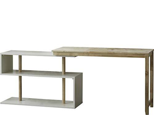 Loft 24 A/S Schreibtisch mit Regal Arbeitstisch Laptop Computertisch Büromöbel Naturholz Modernes Design 120 x 45 x 74 cm