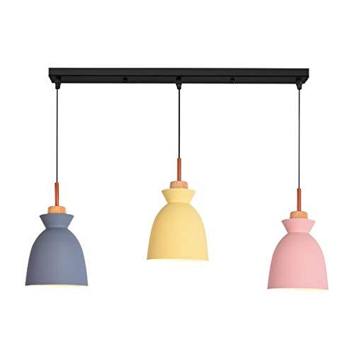 KISlink Lámpara de combinación de Barra danesa con Personalidad Creativa de Tres lámparas de Restaurante, Moderna y Minimalista Macaron Dormitorio lámpara de Noche (Estilo: 8)