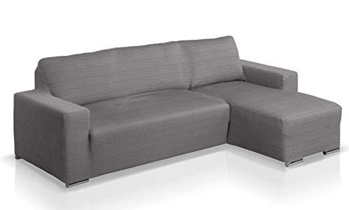 JM Textil Copridivano Elastico Chaise Longue Braccio Corto Ford, Braccio Destro, Standard (250-310cm), Grigio 06