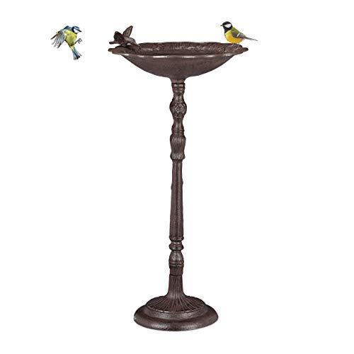 Relaxdays Gusseisen Vogeltränke groß, Ständer, Gartendeko, Vogelfutterstelle, Wildvögel Wasserschale, 74,5cm hoch, braun (Gusseisen Groß)