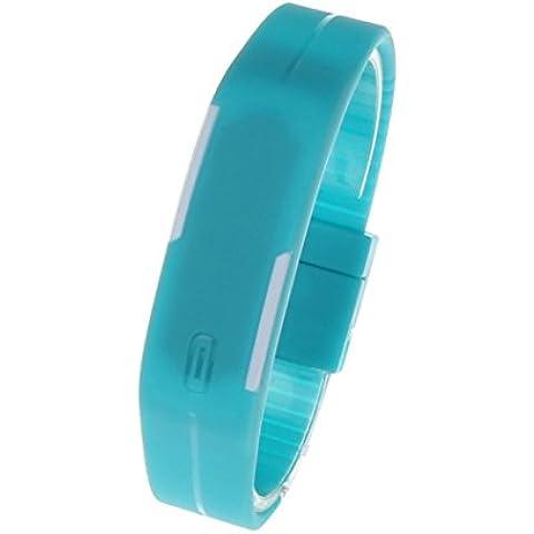 ultra sottile uomini ragazza sport silicone digitale LED sport bracciale orologio da polso (Blu) - Omega Cinturino In Gomma Blu