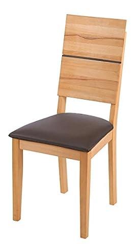 SAM® Esszimmerstuhl Hugo Kernbuche geölt mit brauner Sitzfläche