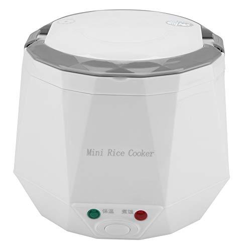 Vaporizador de alimentos multifuncional para dos coches, dos tazas de arroz, vaporizador 12V 100W 1.3L, hervidor de arroz portátil(White)