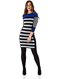 ef33da3d3 Roman Originals Dress Wide Stripe Knit Dress - Ladies Classic Everyday Work  Smart Casual Tunic 3/4 Sleeve…