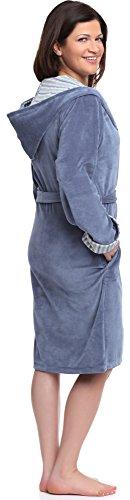 Wanmar Femme Velour Robe de Chambre Forsythia Bleu Marine