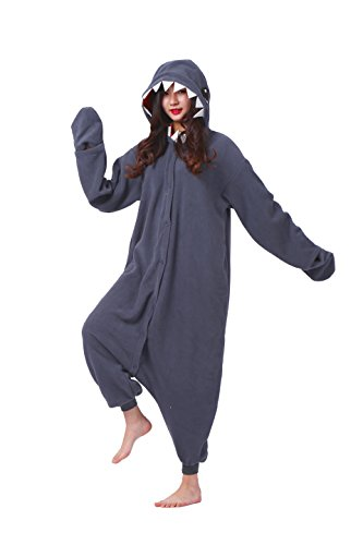 YUWELL Onesie Kigurum Unisex Animal Animal Cosplay Onesie Jumpsuit Pajamas Pyjamas Costume Adult, Schwarzer Hai L (Height:170-180cm)