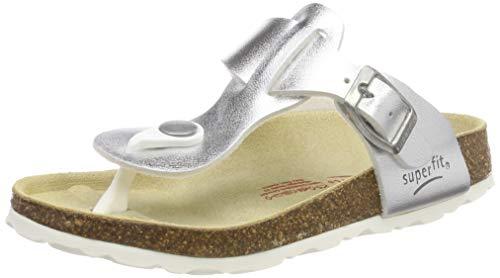 (Superfit Mädchen Fussbettpantoffel Zehentrenner Silber (Metallic Silver 95) 31 EU)