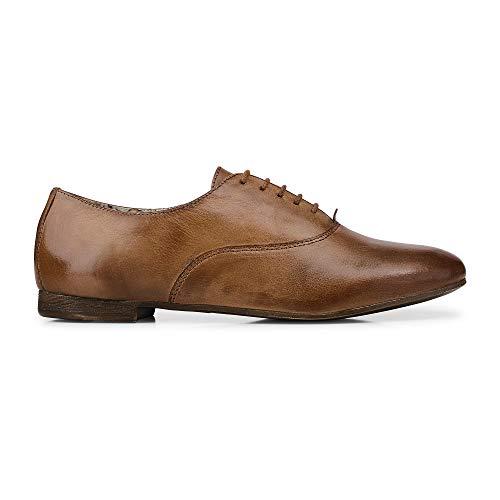 Cox Damen Damen Oxford-Schnürschuh aus Leder, Business-Schuh in Braun, Damen-Schuhe mit Blumen-Innenfutter Braun Glattleder 40