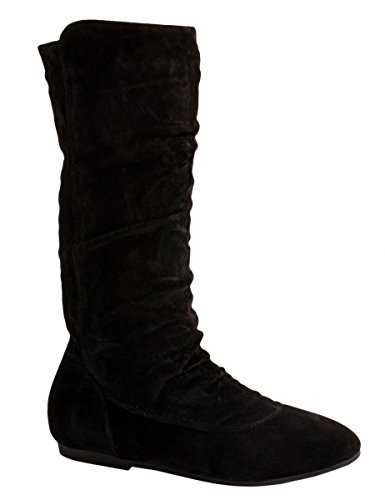 Elara Damen Stiefel | Bequeme Schlupfstiefel | Flache Wildlerder Boots Schwarz