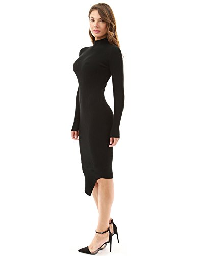 PattyBoutik femmes col montant ourlet asymétrique robe pull côtelé Noir