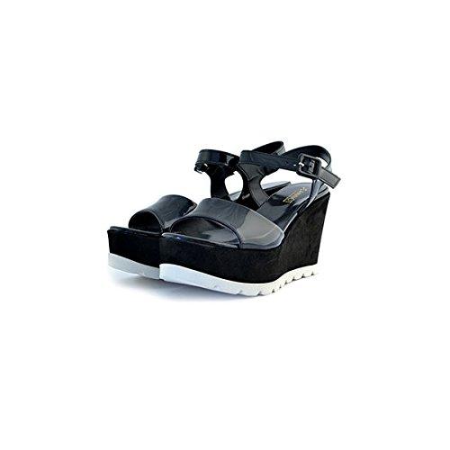 Scarpe sandali donna Jeannot numero 37 36183 in pelle camoscio e vernice nere black zeppa tacco