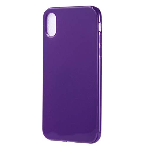 XINGCHEN Telefon Shell Candy Color TPU Schutzschale für iPhone XS Max (Schwarz) Hüllenabdeckung (Farbe : Lila) (Candy Und Schwarz Lila)