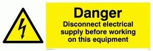 """Viking Schilder we74-l15–1m """"Gefahr Trennen-vor Arbeiten auf dieser Ausrüstung"""" Zeichen, 1mm halbstarr Kunststoff, 50mm H x 150mm W"""