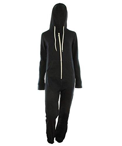 Damen Unisex Fleece ausgekleidet Plain Farbige Kapuzen mit Cuff Reißverschluss vorne Damen Jumpsuit Overall Onesie (S/M 36-38, Marine) (Reißverschluss Kapuze-fleece Vorne-mit)