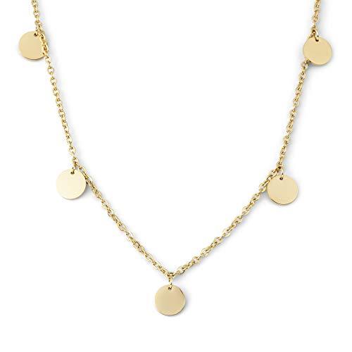 Heideman Halskette Damen Kreise aus Edelstahl Silber Gold oder Rosegold Farben poliert Kette für modische Frauen mit Anhänger rund Längen einstellbar vergoldet hk25447-7