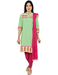 250a4481f4 Rama Women's Cotton Suit Set Green printed Kurta and Pink Legging and  Dupatta