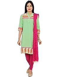 Rama Women's Cotton Suit Set Green Printed Kurta And Pink Legging And Dupatta