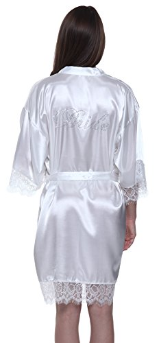 Strass Braut Kimono Robe mit Spitze (Japanische Braut Kostüm)