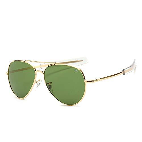 HUWAIYUNDONG Sonnenbrillen,Vintage Aviation Sunglasses Men American Army Military Optical Ao Sun Glasses Women Gold Green
