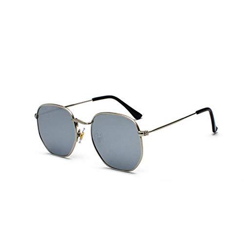 ZHOUYF Sonnenbrille Fahrerbrille Goldene Quadratische Sonnenbrille Weibliche Modelle Schwarz Silberne Spiegel Sonnenbrille Männer Kleines Gesicht Uv400 Metallrahmen, B