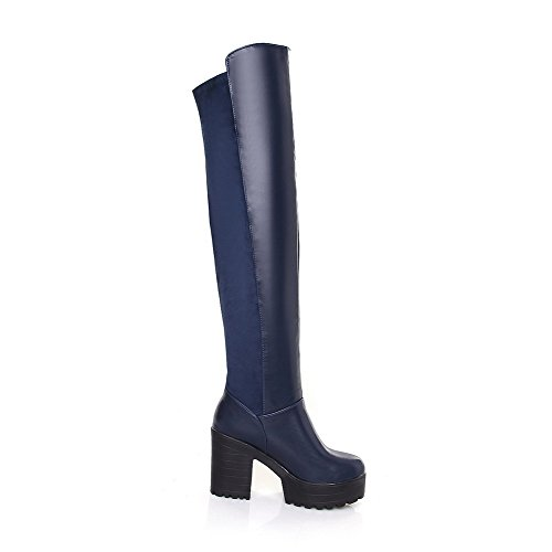 VogueZone009 Damen Blend-Materialien Oberschenkel Hohe Rein Ziehen auf Hoher Absatz Stiefel, Blau, 38