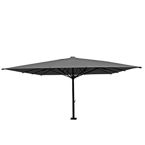 Mendler Gastronomie Sonnenschirm HWC-D20, XXL-Schirm Marktschirm, 5x5m (Ø7,2m) Polyester/Alu 75kg ~ anthrazit