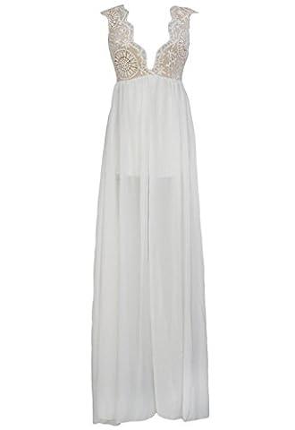 Neuf femmes Blanc en mousseline et NU en dentelle brodée décolleté plongeant et Maxi robe de soirée d'été robes Cocktail Robe de soirée Taille M UK 10–12–EU 38–40
