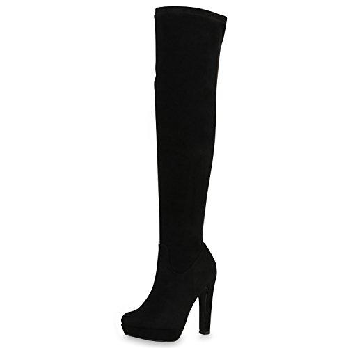 napoli-fashion Damen Overknees Plateau Stiefel Langschaft Stilettos Leder-Optik Schuhe Schwarz Black 40 Jennika