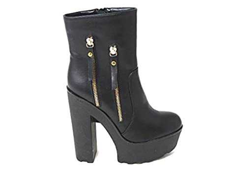 NEW WOMENS LADIES CHUNKY CLEATED SOLE PLATFORM HIGH BLOCK HEEL ANKLE STRAP SHOES ZIP WEDGE BOOTS SIZE 3 4 5 6 7 8 VARIOUS DESIGNS UK (UK3/EUR36/US5, Black Side Zip