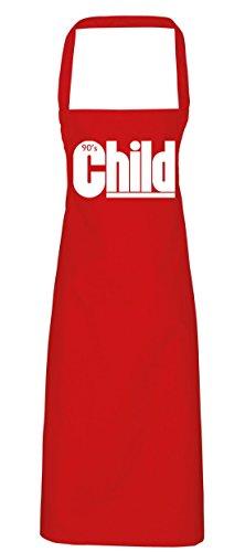 hippowarehouse 90er Kind Oldschool Schürze Küche Kochen Malerei DIY Einheitsgröße Erwachsene, rot, (Jahrzehnt Kostüme Party)