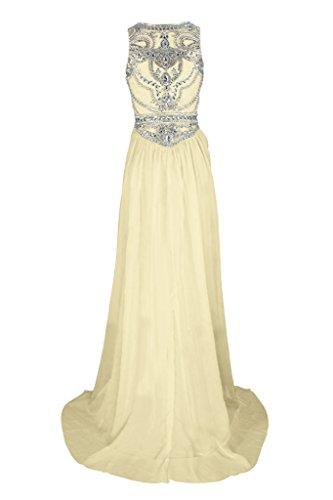 Sunvary Romantisch Neu Rund Steine Chiffon Traeger Abendkleider 2017 Festkleider Partykleider Bodenlang Gelb