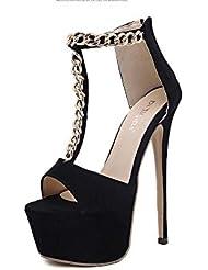 NobS Cadena de metal de tacones altos mujeres abiertas zapatos de zapatos de la plataforma de la plataforma impermeable zapatos de noche , black , 38