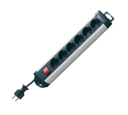 REV Ritter 00196171 SupraLine 6-fach mit Schalter 2.4 m, alu-schwarz