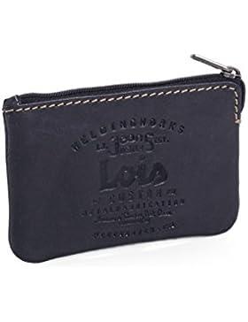 LOIS - 11002 Cartera Monedero Billetero Tarjetero Unisex de Piel genuina con cremallera y llavero interior con...