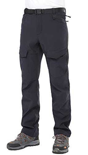 MIER Herren Winter-Cargo-Hose, wärmend, isoliert, Softshell-Wanderhose mit Fleece-Futter, wasserabweisend und Winddicht, Schwarz, Herren, schwarz, X-Large (Softshell-cargo-hosen)