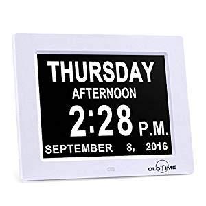 ADDG 8″Kalenderuhr – Speicherverlust digitaler Kalendertag Uhr Tag, Monat, Zeit für ältere Menschen perfekte Mama, Papa und Senioren